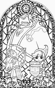 The Legend Of Zelda Wind Waker Stained Glass Window First Step Before Colouring My Boyfriend Is In Love With This Illustration So I