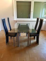 essgruppe glastisch 4 sitzplätze plus 4 stühle silber grau