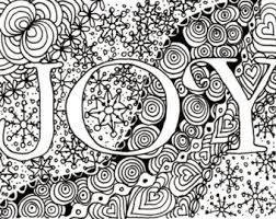 Printable DIY Zendoodle JOY Card 5x7 Pdf From Kauai Hawaii Mele Kalikimaka Christmas Doodle Black White