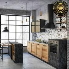 details zu küche im industrial stil damiana loft küche schwarz grau eiche meterpreis