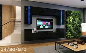 future 24 wohnwand anbauwand wand schrank wohnzimmerschrank möbel wohnzimmer tv schrank hochglanz weiß schwarz led rgb beleuchtung 24 hg b 1 led