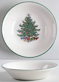 Cuthbertson Christmas Tree Narrow Green Band Cream Newer Coupe Cereal Bowl