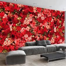 nach 3d tapete moderne romantische rote blumen foto wandmalereien hochzeit haus wohnzimmer schlafzimmer hintergrund wand papiere