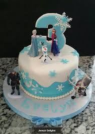 frozen themed fondant cake with elsa olaf sven and