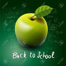 le bureau verte retour à l école à la pomme verte sur le bureau clip libres