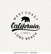 California Hand Written Lettering With Bear Grunge Texture Typography Tee Print Apparel Design Vector Illustration