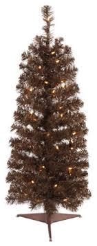 45 Pre Lit Mocha Brown Artificial Pencil Tinsel Christmas Tree Clear Lights