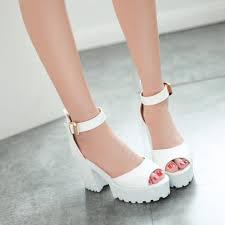 bisi goro 2017 ankle strap summer sandals women pumps thick heel