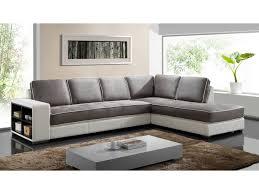 ventes uniques canapes canapé d angle tissu et simili noir ou blanc randy