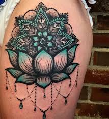 Blue And Black Lotus Sleeve Tattoo Design