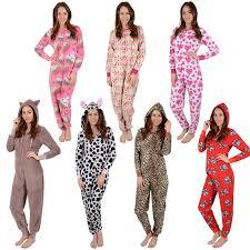 ladies fleece all in one piece pyjamas jump sleep suit onesie pjs