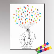HAOCHU Birthday Gift DIY Fingerprint Guest Book Wedding Party Event Sign Guestbook Cute Elephant Canvas Painting