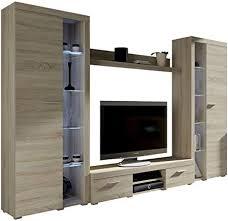 wohnwand rango xl modernes wohnzimmer set design anbauwand schrankwand mediawand vitrine tv lowboard sonoma eiche mit weißer led beleuchtung