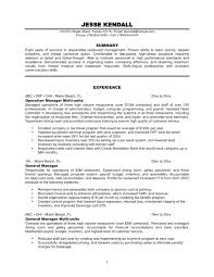 Resume Sample Restaurant Pattern Supervisor