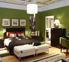 Bedroom Elegant Green Design Feats Fluorescent Lighting Mixed With Dark Chest Of Drawer Ideas Sophisticated