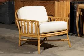 Mid Century Modern Decorative Pair Of Vintage Rattan Lounge Chairs By Ficks Reed For Sale