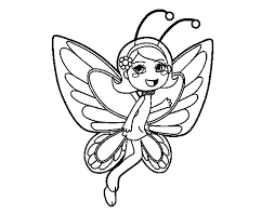 Happy Butterfly Fairy Coloring Page