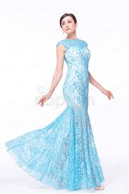 see trough sky blue mermaid lace prom dresses long