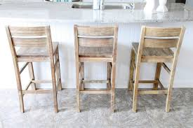 Rustic Distressed Wood Coastal Style Bar Stools With Ladder Backs