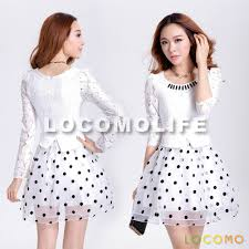 white floral lace scoop neck top black polka dot skirt dress m