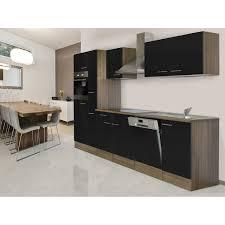 respekta küchenzeile ohne e geräte 310 cm schwarz seidengl eiche york