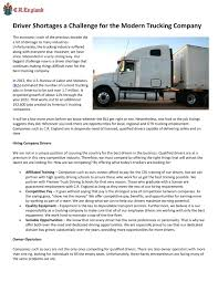 Driver Shortages A Challenge For The Modern Trucking Company By C.R. ...