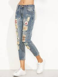 blue distressed ripped embroidered patch jeans shein sheinside