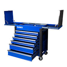 100 Service Truck Tool Drawers 6Drawer Slide Top Cart With Power Strip Blue Sunex S