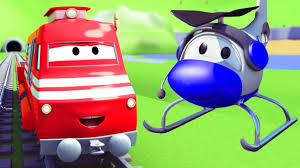 100 Trucks Cartoon Troy The Train And The Helicopter In Car City Cars