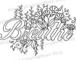 Breathe Printable Gift Coloring Page Yoga Gifts Positive Vibes Inspirational Quote