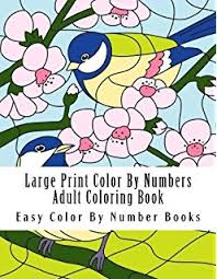 Large Print Color By Numbers Adult Coloring Book Flowers Butterflies Birds More