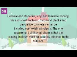 Laying Tile Over Linoleum Concrete by Can You Put A New Floor Over Linoleum Youtube