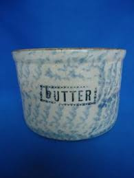 and Gorgeous Blue and White Butter Crock with Lid