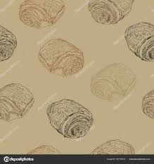 Chocolate Croissants Pain Au Chocolat Traditional French Pastry Hand Draw Sketch Seamless Pattern Vector By Kirpmunhotmail