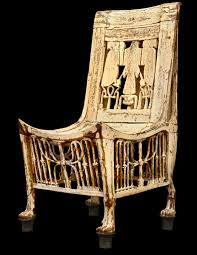 349 tutankhamun s wooden chair painted white opened wings of
