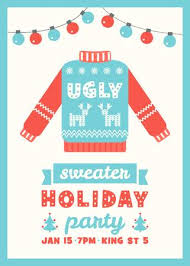 Ugly Sweater Holiday Party Invitation Card Template Stock Vector