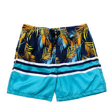 100 Coco Replublic Republic Mens Palm Stripe Board Shorts In Navy Blue