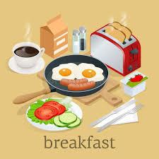 materiel de cuisine en anglais icônes isométriques de petit déjeuner et d équipement de cuisine