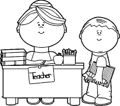 English Teacher And Student Coloring Page