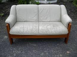 fancy vintage ekornes danish modern teak leather sofa mid
