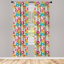 gardine fensterbehandlungen 2 panel set für wohnzimmer schlafzimmer dekor abakuhaus blumen sixties inspiration kaufen otto