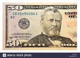 The Front Of An American 50 Dollar Bill With Image General Grant