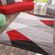 milano9118 rot moderner designer wohnzimmer teppich geometrisches muster meliert vimoda homestyle