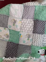 Dumbo Crib Bedding by Dumbo Elephant Embroidered Baby Blanket Mint Green Grey Baby Boy