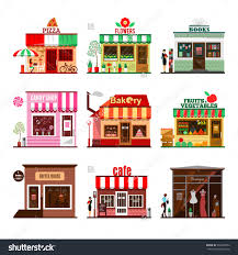 Cool Set Detailed Flat Design City Public Buildings Restaurants And Shops Facade Icons
