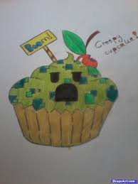 drawing a creeper cupcake