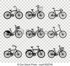 Set Of Retro Bicycles Silhouettes