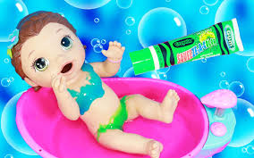 Crayola Bathtub Fingerpaint Soap Set by Baby Alive Bath Time Color Water Messy Paint Swimsuit Makeover