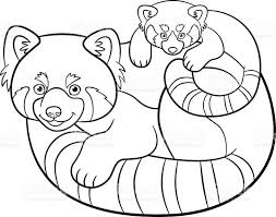 Coloring Pages Mother Red Panda Her Baby Stock Vector Art Royalty Crossing Sea Page Free