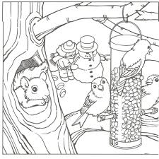 Winter Animals Coloring Pages Free For Kindergarten Scene Large Size